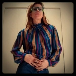 1970's mock neck polyester blouse by Bethany